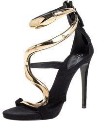 Giuseppe Zanotti Black Suede Alien Ankle Strap Sandals