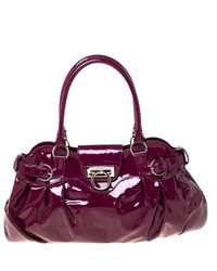 Ferragamo Bordeaux Patent Leather Satchel - Purple