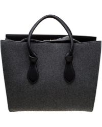 Céline Grey/black Felt Leather Medium Tie Tote - Gray
