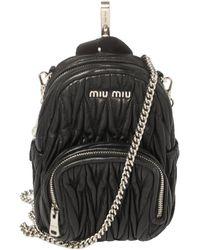 Miu Miu Black Matelasse Leather Mini Backpack