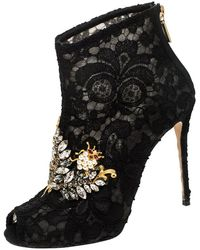 Dolce & Gabbana Black Lace Crystal Embellished Peep Toe Booties