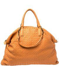 Bottega Veneta Orange Intrecciato Leather Maxi Convertible Tote