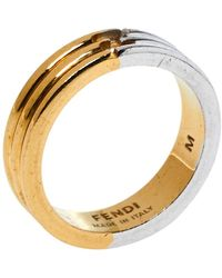 Fendi The Sta Two Tone Narrow Band Ring - Metallic
