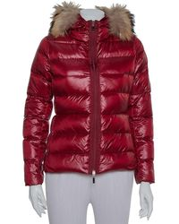 Moncler Burgundy Synthetic Down Fur Lined Hooded Puffer Jacket - Red