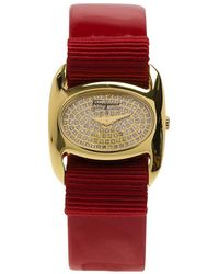 Ferragamo Diamond Gold-plated Stainless Steel Varina Women's Wristwatch 26mm - Red