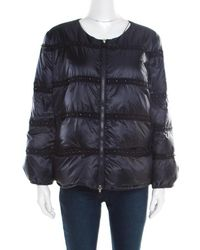 Moncler - Navy Blue Bead Embellished Quilted Down Jacket S - Lyst