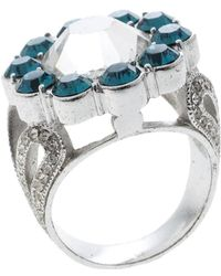Dior Blue Crystal Flower Silver Tone Ring Size 52 - Metallic