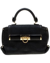 Ferragamo Black Raffia And Leather Small Sofia Satchel
