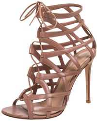 Gianvito Rossi Beige Leather Gladiator Lace Up Booties - Natural