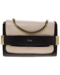 Chloé Off White/black Leather Elle Chain Clutch