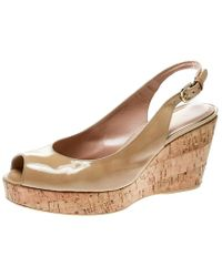 Stuart Weitzman Beige Patent Leather Jean Peep Toe Cork Wedge Slingback Sandals Size 41 - Natural