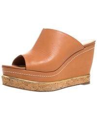 Paloma Barceló Paloma Barcelo Tan Leather Mule Platform Wedge Sandals - Brown