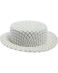 Chanel White Fantasy Tweed Boater Hat