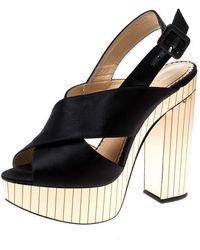 Charlotte Olympia Black Satin Electra Cross Strap Platform Sandals Size 38.5