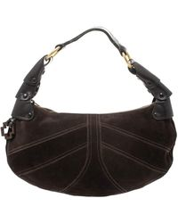 Bally Dark Brown Suede And Leather Hobo