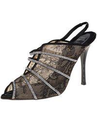 Rene Caovilla - Rene Caovilla Black Lace Crystal Embellished Peep Toe Sandals - Lyst