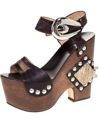 Roberto Cavalli Brown Leather Embellished Buckle Detail Platform Wedge Sandals