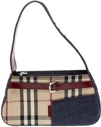 Burberry Blue/burgundy Check Canvas And Denim Buckle Baguette Bag