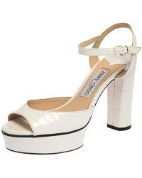 Jimmy Choo Peachy Lizard-embossed Leather Platform Sandals - White