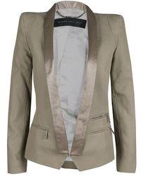 Barbara Bui Khaki Cotton Satin Trim Tailored Blazer S - Brown