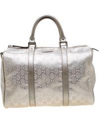 ef400626d Gucci - Grey Metallic GG Supreme Canvas And Leather Medium Joy Boston Bag -  Lyst