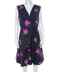 Marc By Marc Jacobs Normandy Blue Night Bird Print Silk Taffeta Dress L
