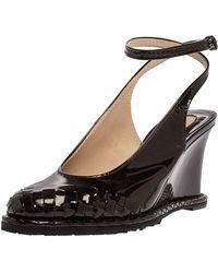 Bottega Veneta Dark Brown Intrecciato Patent Leather Wedge Slingback Sandals