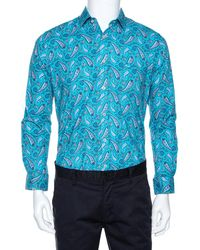 Etro Blue Cotton Paisley Printed Button Front Shirt