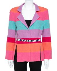 Chanel Multicolour Stripe Cotton Tweed Belted Blazer - Pink