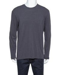 Armani Dark Grey Chevron Pattern Knit Long Sleeve Crew Neck T-shirt
