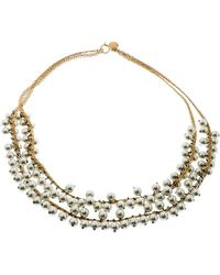 CH by Carolina Herrera Faux Pearl Gold Tone Double Strand Necklace - Metallic