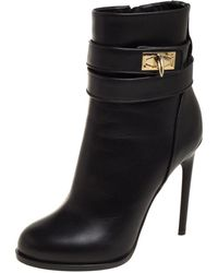 Givenchy Black Leather Shark Lock High Heel Ankle Boots
