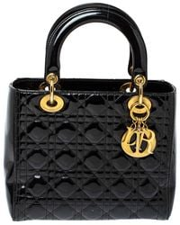 Dior Black Cannage Quilted Patent Leather Medium Lady Tote
