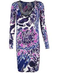 Emilio Pucci Multicolour Printed Silk Jersey Embellished Neck Detail Dress M - Blue