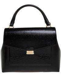 Carolina Herrera Black Monogram Patent Leather Push Lock Top Handle Bag
