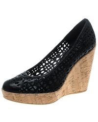 Stuart Weitzman Black Perforated Leather Nudotcomer Platform Cork Wedge Court Shoes
