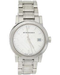 Burberry Silver Stainless Steel Bu9100 Wristwatch - Metallic