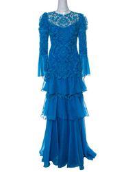 Tadashi Shoji Blue Chiffon And Lace Tiered Moreau Gown