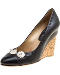 Chanel - Leather Camellia Cap Toe Wedge Pumps - Lyst