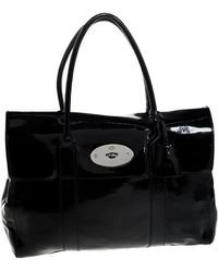 Mulberry Black Patent Leather Bayswater Satchel
