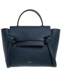 Céline Navy Blue Leather Belt Bag