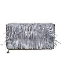 Stella McCartney Silver Faux Leather Falabella Fringed Fold Over Clutch - Metallic
