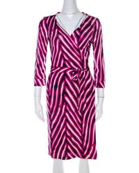 Diane von Furstenberg Pink And Blue Striped Silk New Julian Wrap Dress M