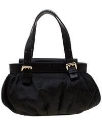 Moschino Black Signature Nylon And Leather Hobo