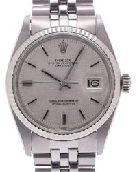 Rolex Silver 18k White Gold And Stainless Steel Oyster Perpetual Datejust 1601 Men's Wristwatch 34 Mm - Metallic