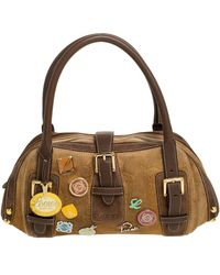 Loewe Brown Badge Suede And Leather 160th Anniversary Satchel