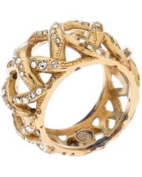 Chanel Cc Criss Cross Crystal Gold Tone Band Ring Size 56 - Metallic