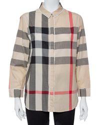 Burberry Beige Vintage Check Cotton Lace Detail Button Front Shirt - Natural