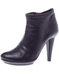 Bottega Veneta Purple Leather Ankle Boots Size 38
