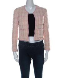 Chanel - Vintage Pink Boucle Tweed Cropped Jacket M - Lyst